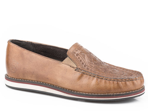 Filly Tooled Flowers Mocassin Womens Casual Taupe Burnished Leather