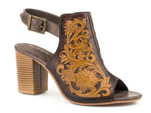 Mika Sandal Womens Casual Brown Floral Tooled Leather