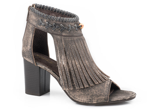Bettina Sandal Womens Casual Sanded Brown Leather With Fringe