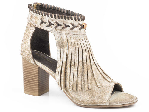 Bettina Sandal Womens Casual Vintage Beige Suede With Fringe