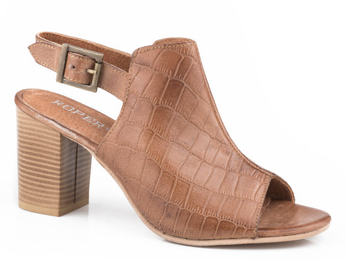 Mika Croco Sandal Womens Casual Tan Caiman Embossed Leather