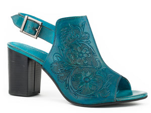 Mika Sandal Womens Casual Burnished Turquoise Hand Tool Leather