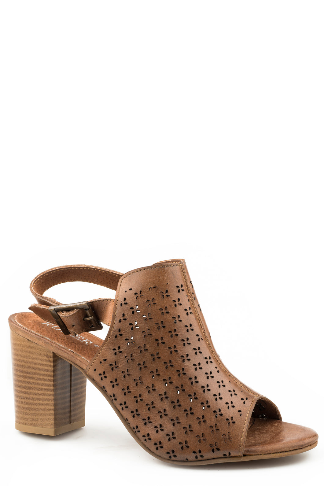 Mika Geo Sandal Womens Casual Tan Laser Cut Out Design