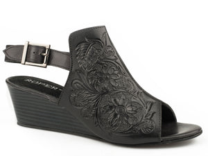 Rowan Sandal Womens Casual Black Floral Hand Tooled Leather