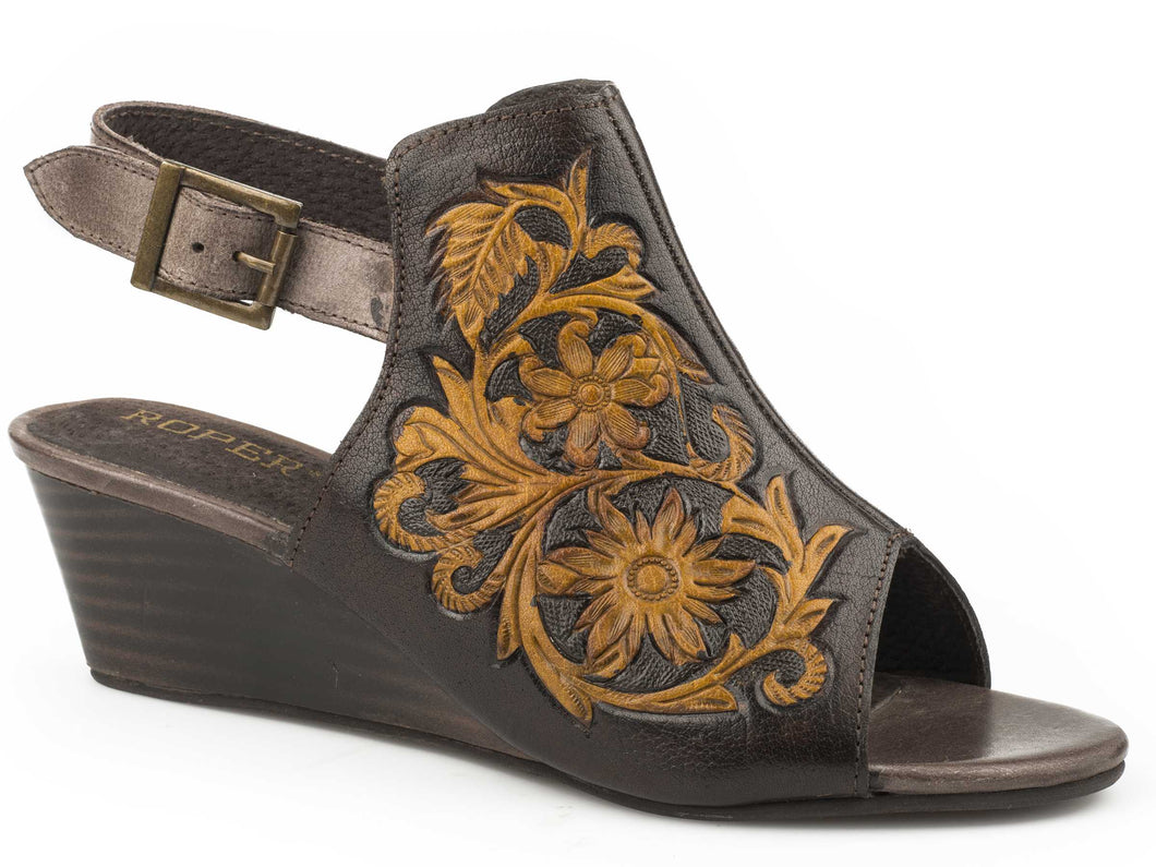 Rowan Sandal Womens Casual Brown Tan Floral Hand Tooled Leather