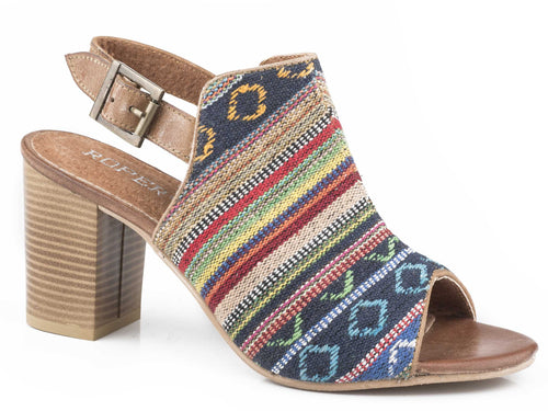 Mika Aztec Tapestry Sandal Womens Casual Serape Vamp With Tan Leather Straps