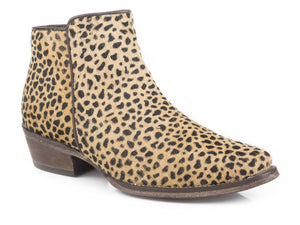 Catty Boot Womens Boot Tan Cheetah Hair On Hide Vamp Shaft