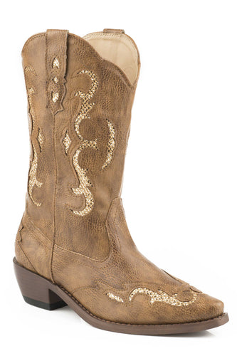 Clara Glitter Boot Womens Boot Tan Tumbled Faux Leather W Matching
