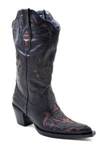 Annie Boot Ladies Boot Vintage Faux Leather Underlay Cutouts