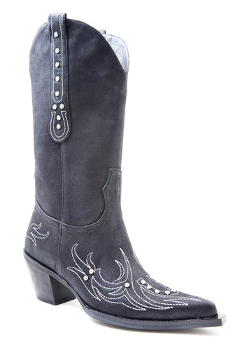 Emily Boot Ladies Boot Vintage Faux Leather Clear Rhinestones