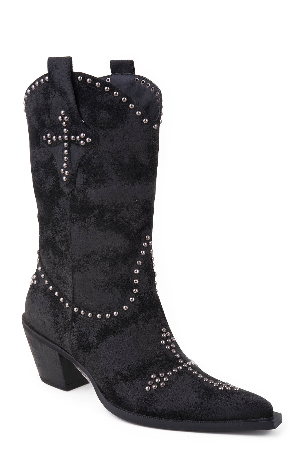 Ladies Fashion Boot Boot Womens Boot Black Faux Suede W Stud Cross Design