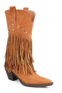 "Oakley Boot Ladies Boot 12"" Tan Fringe Boot With Stud Design"