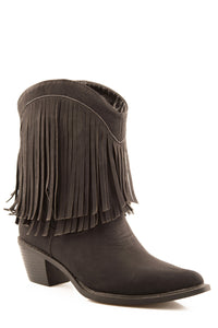 "Makinz Boot Ladies Boot 8"" Shorty Boot In Black With Two Rows"