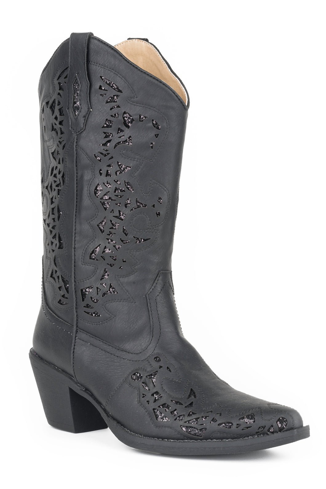 Alisa Boot Womens Boots Black Faux Leather Metallic Underlay