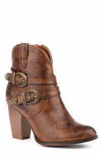 Maybelle Boot Womens Shorty Burnished Brown Shorty With 2 Belts
