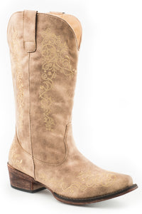 Judith Boot Womens Boots Vintage Beige Vamp And Shaft