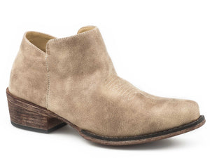 Sofia Boot Womens Shorty Snip Toe Vintage Beige Faux Leather