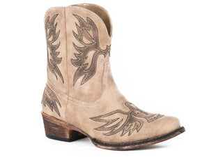 Amelia Boot Womens Shorty Vintage Beige With Dark Brown Eagle