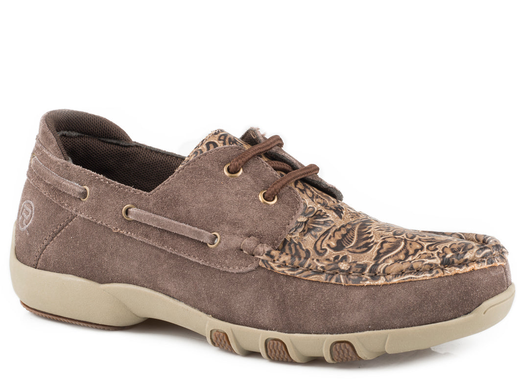 Lacee Tooled Casual Womens Casual Brown Suede Leather Tooled Vamp