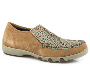 Gemini Casual Womens Casual Tan Suede Turquoise Embossed Vamp