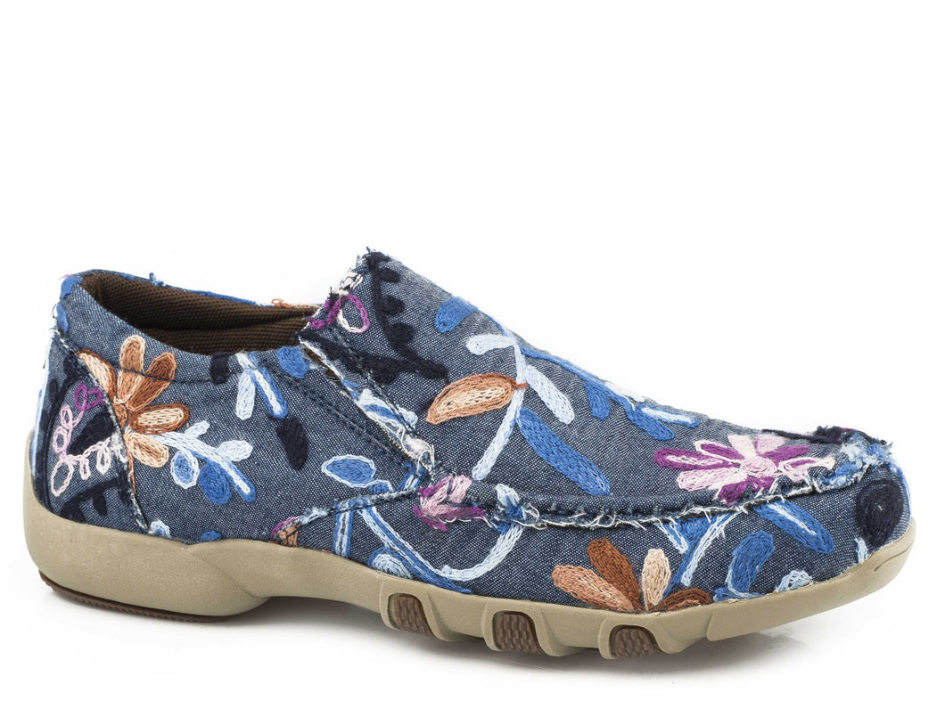 Johnnie Casual Womens Casual Denim Blue With Floral Embroidery