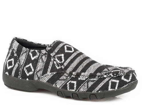 Jackie Casual Womens Shoes Black White Southwest Stripe Fabric
