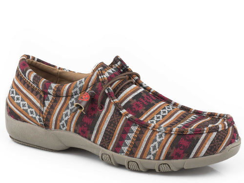 Chillin Aztec Casual Womens Casual Brown Aztec Canvas