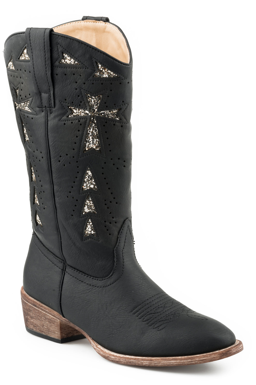 Glitter Cross Boot Womens Boots All Over Vintage Black Faux Leather