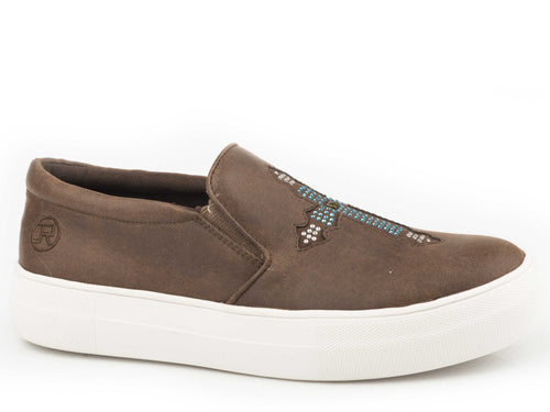 Darcy Casual Womens Casual Brown Textile Upper Slip-on