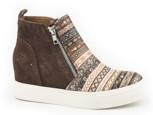 Rhonda Casual Womens Casual Brown Suede With Stripe Vamp
