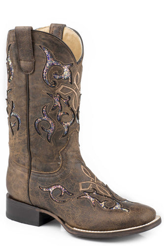Glitter Baby Boot Womens Boots Waxy Brown Leather Vamp Shaft