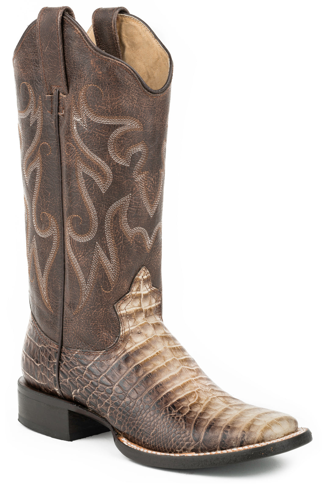 Sandy Croc Boot Ladies Boot Faux Brown Croc Wsanded Brown Shaft