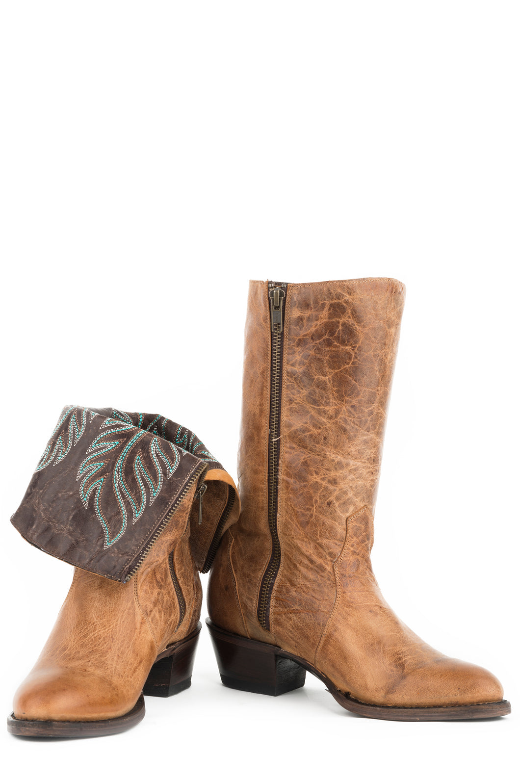 Woodlands Round Boot Womens Boots Marbled Tan Leather Vamp Shaft