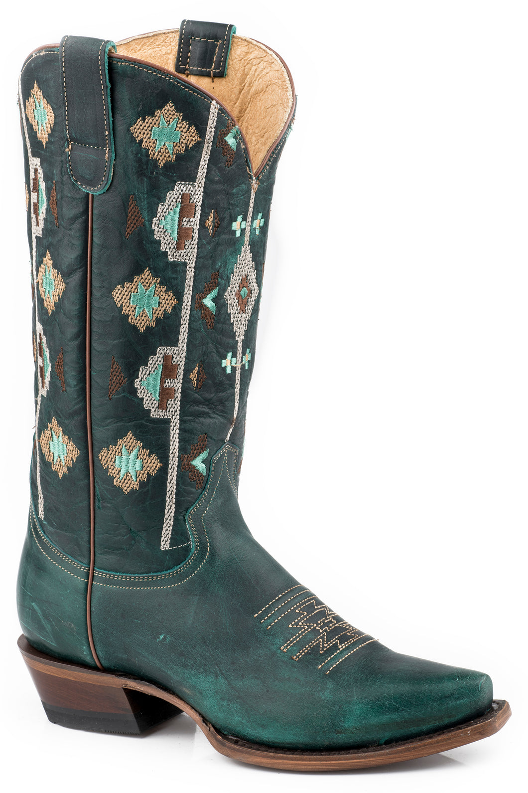 Out West Too Boot Womens Boots Waxy Turquoise Vamp Shaft