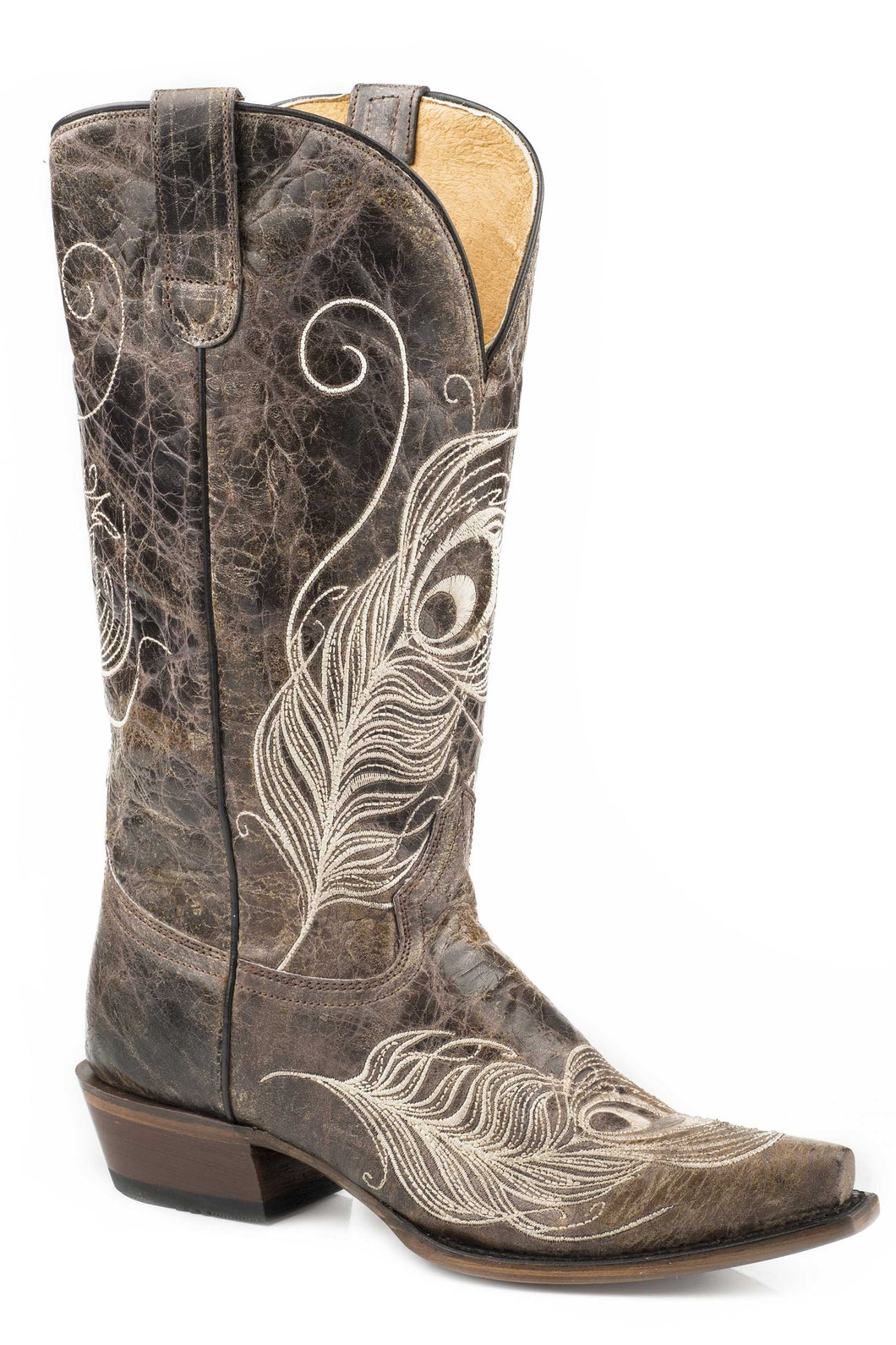 Feather Boot Womens Boots Vintage Brown Vamp Shaft