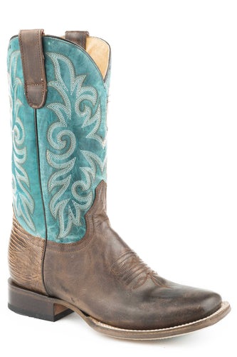 Lulu Boot Womens Boots Waxy Brown Vamp Turquoise Shaft