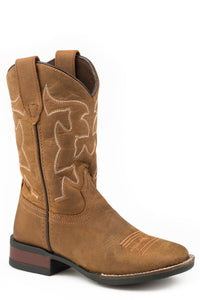 Cow Hide Boot Big Kids Boots Crazy Horse Brown Vamp Shaft