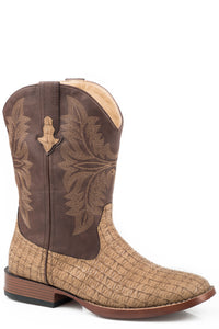 Chomp Boot Big Kids Boots Tan Embossed Caiman Vamp