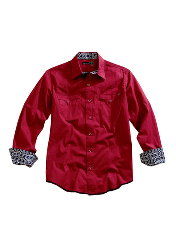 Tin Haul Collection Tinhaul Mens Long Sleeve Shirt 1099 Solid Poplin - Red