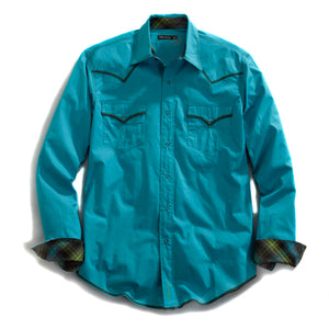 Tin Haul Collection Tinhaul Mens Long Sleeve Shirt 9523c1 Solid Stretch Poplin -turquoise