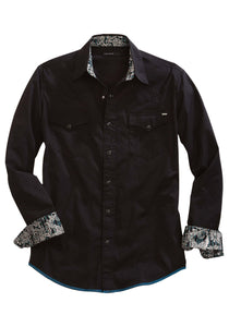 Tin Haul Collection Oldwest Mens Long Sleeve Shirt 1443 Solid Poplin - Black