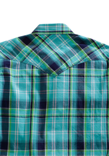 Tin Haul Collection Tinhaul Mens Long Sleeve Shirt 0253 Lagoon Plaid