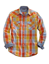 Tin Haul Collection Tinhaul Mens Long Sleeve Shirt 8853 Orange Blue Buffalo Plaid