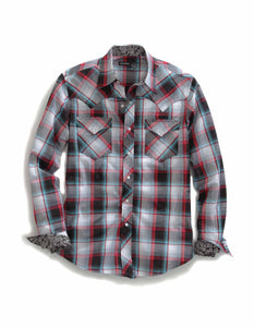 Tin Haul Collection Tinhaul Mens Long Sleeve Shirt 0454 Black Stone Plaid