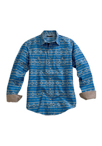 Tin Haul Collection Tinhaul Mens Long Sleeve Shirt 1098 Retro Aztec