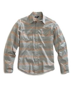 Tin Haul Collection Tinhaul Mens Long Sleeve Shirt 9269 Sandstone Print