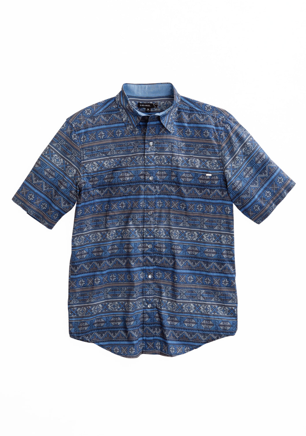 Tin Haul Collection Tinhaul Mens Short Sleeve 1798 Indigo Aztec