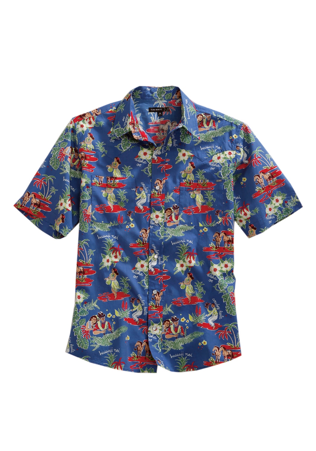 Tin Haul Collection Tinhaul Mens Short Sleeve 2138 Cowboy Hula Style 2