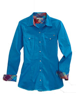 Tin Haul Collection Tinhaul Womens Long Sleeve Shirt 1557 Sold Poplin - Turquoise