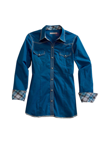 Tin Haul Collection Tinhaul Womens Long Sleeve Shirt 1099 Solid Poplin - Blue
